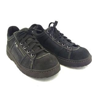 Skechers Women 9 Black Leather Lace Up Loafer Shoe